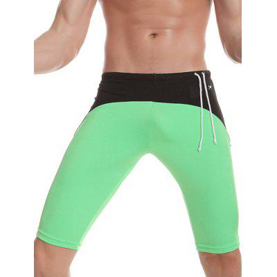 Contrast Panel Side Drawstring Swimming Trunks