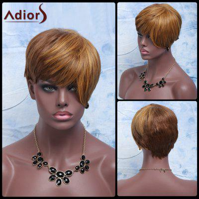 Buy COLORMIX Adiors Hair Short Full Bang Golden Mixed Brown Straight Synthetic Wig for $12.67 in GearBest store
