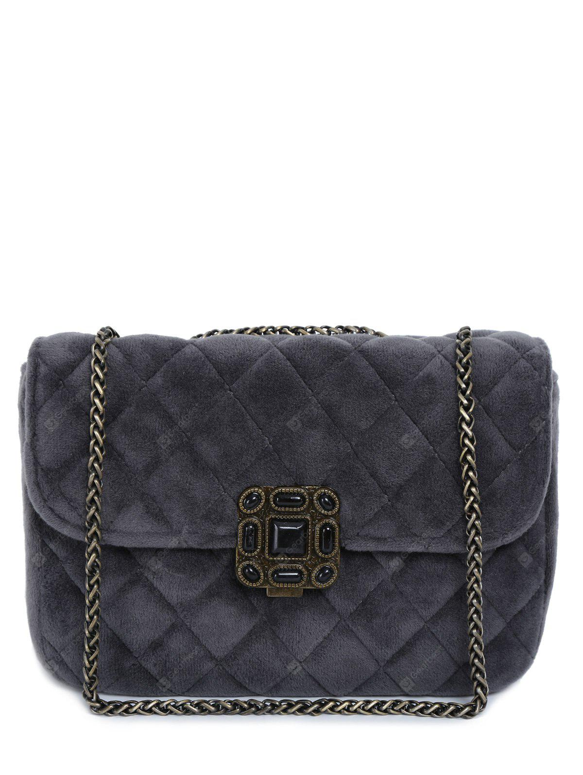 Retro Chains Velour Quilted Bag