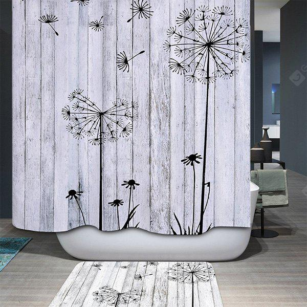 Buy Concise Dandelion Water Resistant Mildewproof Shower Curtain LIGHT GRAY
