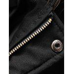 Thicken Zip Up Down Coat with Faux Fur Hood - BLACK