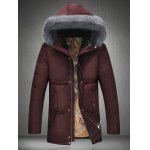 Furry Hood Thicken Padded Zip Up Down Coat - RED