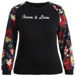 Peace Lace Patterned Plus Size Sweatshirt - BLACK