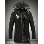 Hooded Embroidered Lengthen Thicken Jacket - BLACK