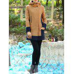 Color Block Hooded Long Coat for sale