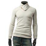 Long Sleeve Zippered Plain Pullover Knitwear - LIGHT GRAY