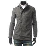 PU Leather Panel Pocket Single Breasted Woolen Coat - GRAY