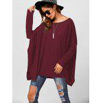Drop Shoulder Side Slit Smock Tee - DARK RED