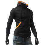 Contrast Color Pocket Button Up Pullover Hoodie - BLACK