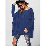 Drop Shoulder Side Slit Smock Tee - BLUE