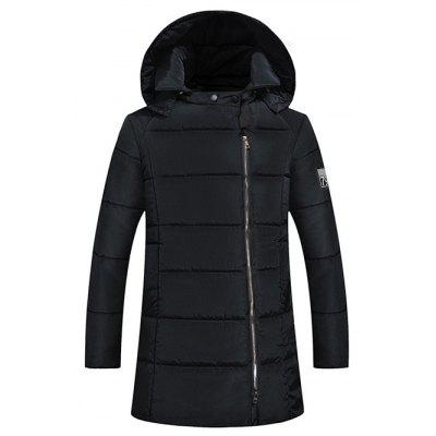 Side Zip Up 79 Patch Quilted Hooded Coat