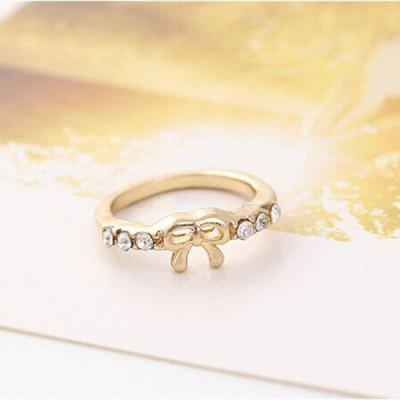 Chic Sweet Rhinestone Bowknot Embellished Women's Ring