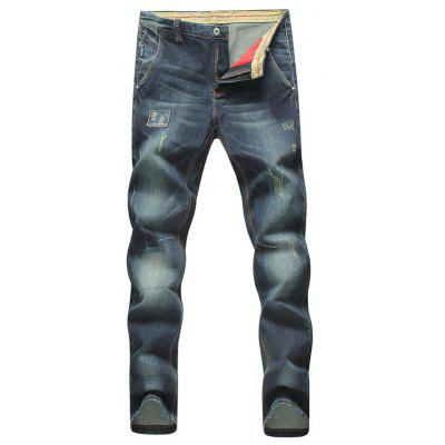 Konische Fit Zip Fly Applikationen Distressed Jeans
