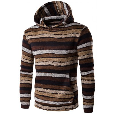 Hooded Stripe Print Long Sleeve Brown Hoodie