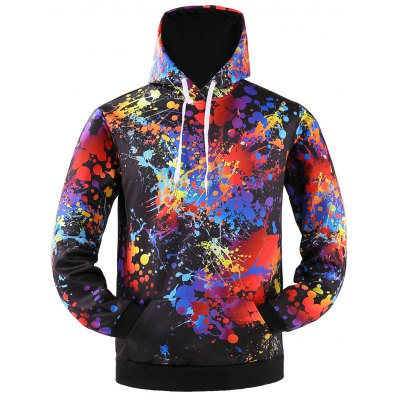 Colorful Splatter Paint Kangaroo Pocket Patterned Hoodies