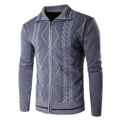 Ribbed Zip Up Jacquard Cardigan