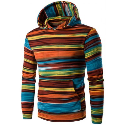 Buy ORANGE L Hooded Color Block Stripe Pullover Hoodies for $22.82 in GearBest store