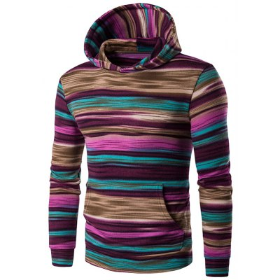 Hooded Colorful Stripe Print Long Sleeve Patterned Hoodies