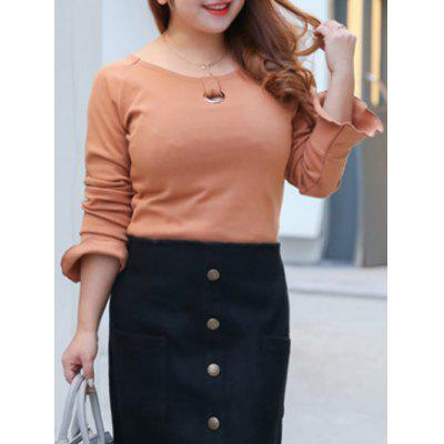 Plus Size Brushed Keyhole Long Sleeve Tee