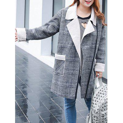 Plus Size Shearling Fleece Plaid Coat