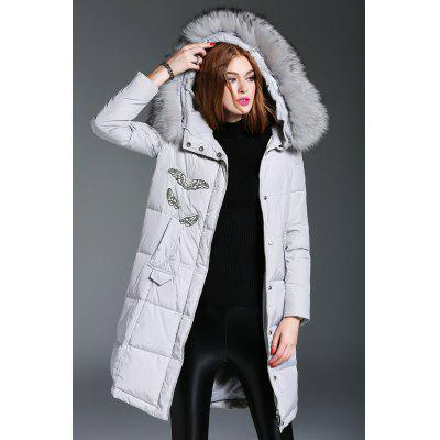 Fur Hooded Feather Applique Down Coat
