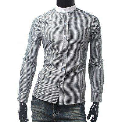 Mandarin Collar Long Sleeve Checked Shirt