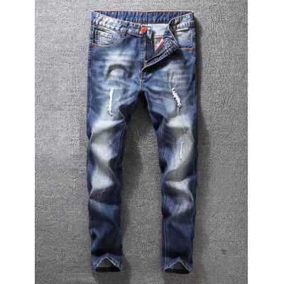 Zip Fly Distressed Jeans in Karottenform