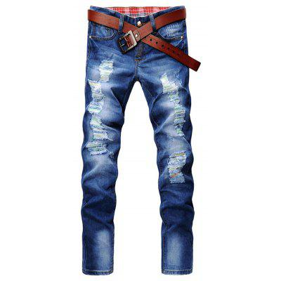 Zip Fly Slim Fit Jeans with Extreme Rips