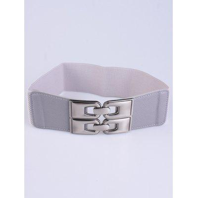 PU Alloy Double Buckle Elastic Wide Belt