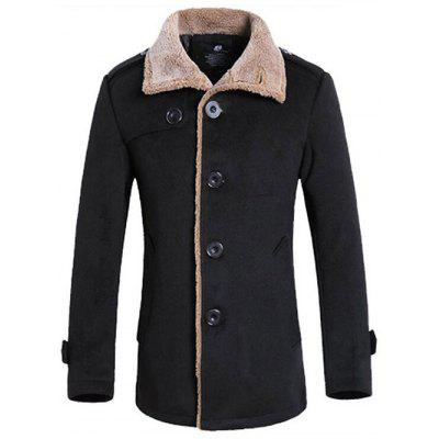 Turndown Collar Flocking Single Breasted Suede Coat