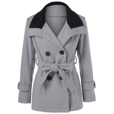 Double-Breasted Tie Belt Woolen Coat