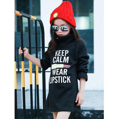 Girls Long Sleeve Letter Print Mini Dress