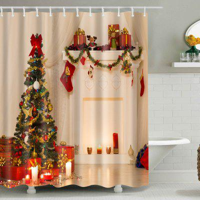 Xmas Tree Fabric Waterproof Bath Christmas Shower Curtain