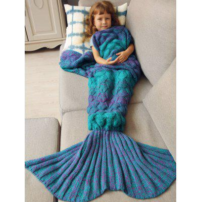 Buy BLUE Warmth Knitted Fish Scales Mermaid Blanket For Kids for $26.93 in GearBest store