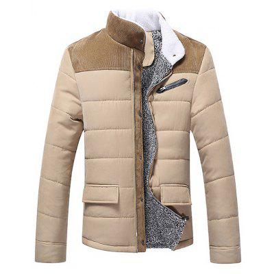 Corduroy Insert Plush Lining Winter Jacket