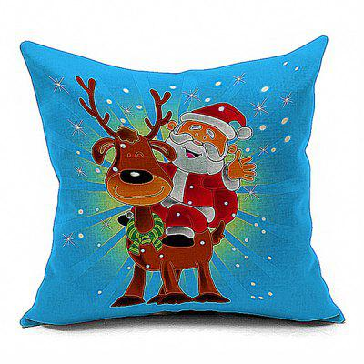 Buy BLUE AND RED Santa Claus Deer Cushion Throw Pillow Case for $7.99 in GearBest store