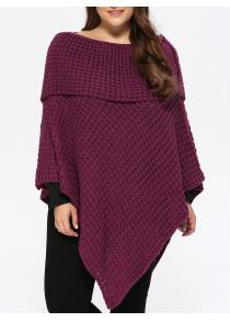 Plus Size Knitted Asymmetric Chunky Cape