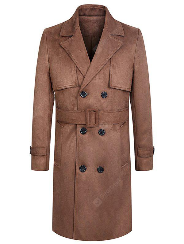 Turndown Collar Lengthen Belt Design Double Breasted Suede Coat XL