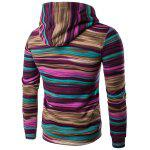 Hooded Color Block Stripe Pullover Hoodies - RED