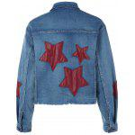 cheap Pocket Star Appliques Denim Jacket