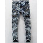 Zippered Pocket Mid Rise Snow Wash Jeans - DEEP BLUE