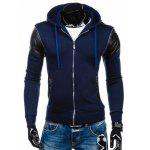 Zip Up Hoody de Design de Zíper com Couro - CADETBLUE