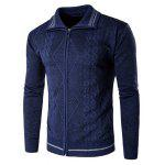 Zip Up com nervuras Jacquard Cardigan - CADETBLUE