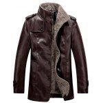 Stand Collar Flocking Single Breasted PU-Leather Jacket - COFFEE