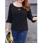 cheap Plus Size Brushed Keyhole Long Sleeve Tee