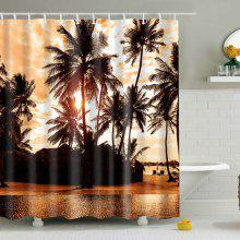 Palm Printed Polyester Waterproof Bath Shower Curtain