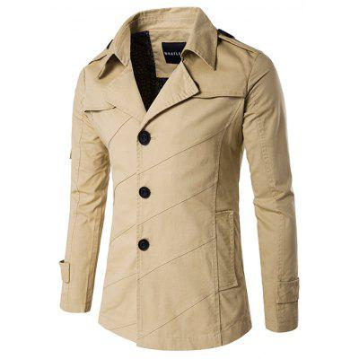 Splicing Design Single Breasted Coat
