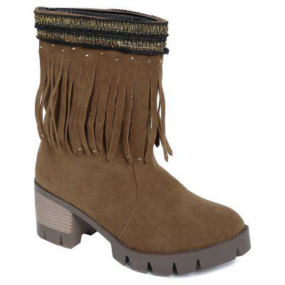 Color Block Rhinestones Fringe Short Boots