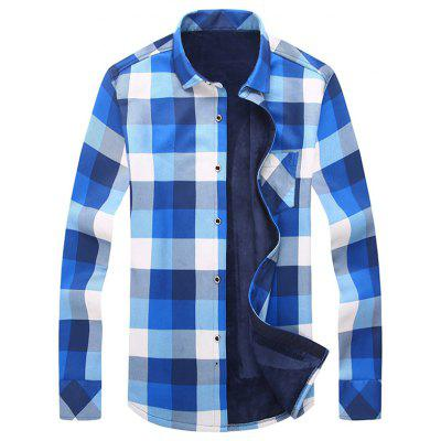 Turndown Collar Long Sleeve Checked Shirt