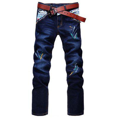 Zip Fly Straight Leg Spray Paint Panel Jeans